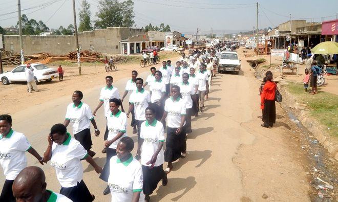 SPRING/Uganda staff marching for World Breastfeeding Week 2015