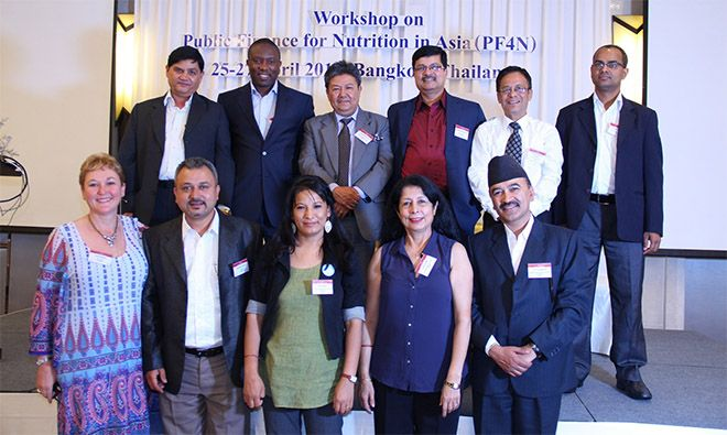 SPRING's Pathways to Better Nutrition (PBN) team member Madhukar B. Shrestha (top, second from right) recently attended the Public Finance for Nutrition in Asia (PF4N) workshop in Bangkok, Thailand, as part of the larger Nepali delegation.