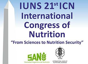 "Flyer from the conference. Title: IUNS 21st ICN International Congress of Nutrition. Quote: ""From Sciences to Nutrition Security"" logos from Sociedad Argentina de Nutricion and International Union of Nutritional Sciences. Along the left side is an icon that looks like the Washington Monument."