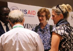 SPRING/Senegal Chief of Party, Bob de Wolfe, USAID Mission director, Lisa Franchett, national coordinator of the Unit for the Fight against Malnutrition, Abdoulaye Ka, and SPRING Country Program Leader, Nathalie Albrow, chat during the close-out ceremony in Dakar.