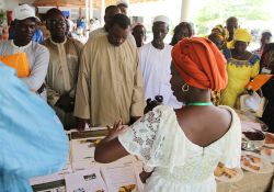 SPRING/Senegal nutrition advisor, Mariam Sy, speaks to guests about SPRING's accomplishments in nutrition, gender and hygiene at one of the stands set up to showcase project achievements.
