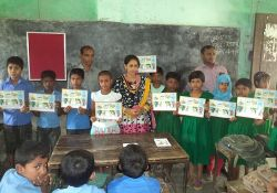 Children displaying their coloring