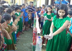 Girls demonstrating handwashing