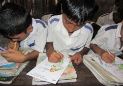 Children coloring for Global Handwashing Day