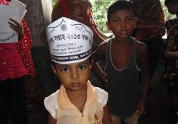 A child celebrates World Breastfeeding Week in Bangladesh