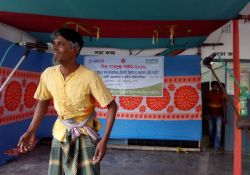 A man performs a drama at Bagherpara upazila World Breastfeeding Week event
