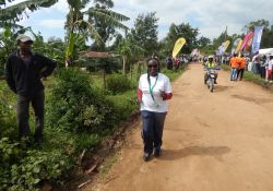 SPRING Country Manager, Margaret Kyenkya, running in the marathon. Either she is very far ahead or trailing behind!