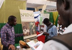 Ibrahima Ly, SPRING/Senegal social mobilization officer, explains SPRING's multi-sectoral approach to visitors.