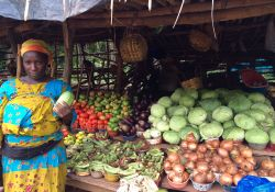 Market woman with her vegetables