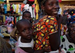 Mother and child at market