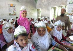 A participant answers a quiz question at Ramagonj school in Lalmohan upazila