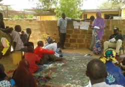 SPRING and Digital Green facilitators explain one video scenario in El Kolta village in the Maradi region.