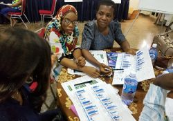 "In Abuja, participants analyze findings presented on ""data placemats""."