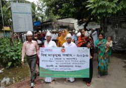 A local parade during World Breastfeeding Week in Bangladesh