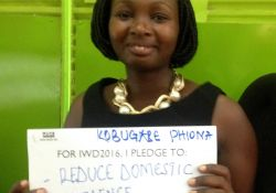 """For IWD '16, I pledge to reduce domestic violence; provide mosquito nets to breastfeeding mothers"""