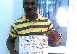 """""""For IWD '16, I promise to elect women candidates as MPs in Ghana's parliament"""""""