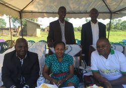Front row, from left to right: Emmanuel Ahimbisibwe (MOH), Dr. Jacent Asiimwe (MOH), David Katuntu (SPRING). Back row, from left to right: Kasubi Wycliff (Namutumba District) and Kizito Ndegeya (Namutumba District)