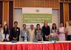 """SPRING's """"Pathways to Better Nutrition"""" (PBN) Nepal case study team and HKI Nepal staff who helped support the study gathered at the final national dissemination event, held in Kathmandu on April 20th 2016"""