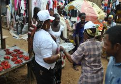 Market women dancing at Kuje Market