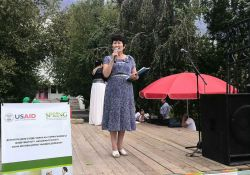Ms. Mederova Gulmira, Deputy Director of General Medical Practice Center of Kara Kul town, speaks about World Breastfeeding Week and about the medical center's maternity department.