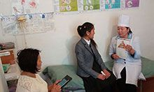 SPRING trainer Cholpon conducting supportive supervision in FMC in Naryn.
