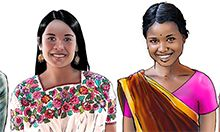 Illustrated image of two adolescent girls.