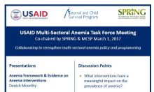 Anemia Task Force event flyer with presentations and discussion points listed.