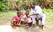 Handwashing family in Ghana