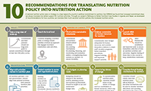 Screenshot of outline of recommendations for translating nutrition policy into nutrition action.