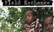 Front page of document. Contains Field Exchange title and picture of three children's faces with a background of trees.