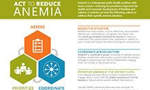 Anemia infographic. Images: graphics representing the 3 stages - assess, prioritize, coordinate. Title: Act to Reduce Anemia, Summary: Anemia is a widespread public health problem with many causes—reducing its prevalence improves the health and economic development of families and nations. Countries can take the following actions to address their specific anemia situation. Text: ASSESS THE SITUATION Anemia has many causes, such as infections, micronutrient deficiencies, inflammation, and genetic disorders.