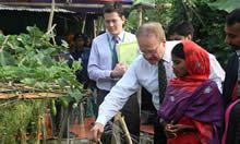 US Ambassador to Bangladesh, Dan Mozena, and USAID Mission Director, Janina Jaruzelski, visited a SPRING farmer field school to learn first-hand about nutrition efforts.