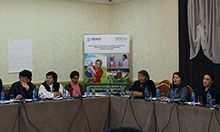 Photo of a group of people sitting at a panel: Participants attend a two day training on the linkages between agriculture and nutrition.