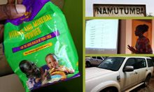 Collage showing a MNP packet, a sign of Namutumba, a presentation of data, and a SPRING vehicle