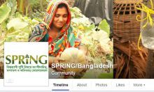 Photo of a woman gardening from the SPRING/Bangladesh Facebook page