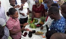 SPRING, GHS training of District Health Staff on anemia curriculum in Tamale. Taken during a session on iron-, vitamin A- and vitamin C-rich food.