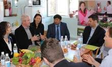 Michael Foley of SPRING describes its work to a USAID delegation visiting Oblast Merged Hospital Maternity Center in the Kyrgyz Republic.