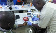 Man having test done on hemoglobin levels