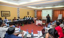 Sarah Ngalombi from the Uganda Ministry of Health speaks at a National Anemia Working Group meeting