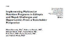 Implementing Multisector Nutrition Programs in Ethiopia and Nepal: Challenges and Opportunities From a Stakeholder Perspective Article Thumbnail