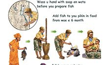 Cover image of the poster: Eat fine fish for welbodi, featuring images depicting preparing and eating fish.
