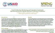 Food Fortification Monitoring and Evaluation Framework: Operationalizing the Uganda National Fortification Guidelines