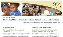 Technical Brief: The Costs of Micronutrient Interventions: Policy Issues and Interventions