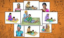 "Front cover [title] Photo-to-Illustration Guide A Resource for the Development of Health Communication Visual Materials [cover illustration] Foreground: a collage of nine illustrations of mothers with their children or by themselves. ""USAID."" SPRING logo"""