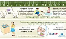 On one side of the ruler is a poem with key messages about the importance of hand washing, drinking clean water, and eating healthy foods to avoid illness. The other side of the ruler reminds children to wash hands with soap before eating, after visiting the toilet, after playing, and after coming home from school.