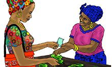 Illustration where a woman makes a purchase from a vendor