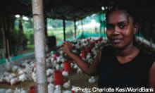 Woman shows her chickens to the camera - source: Charlotte Kesl/World Bank