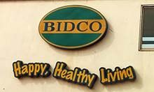 BIDCO: Happy, Healthy Living sign