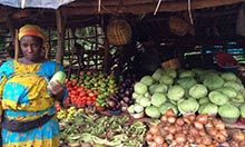 Vegetable seller with her wares