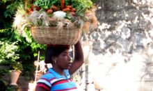 A Haitian woman carries fresh vegetables.